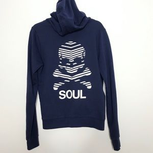 SoulCycle Skull Full Zip Up Sweatshirt Blue Small